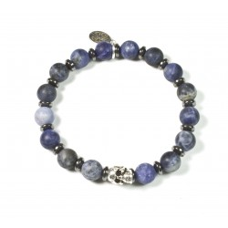 Bracelet Sodalite matt and skull patinated pewter