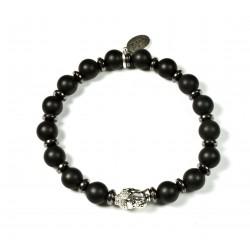 Bracelet Onyx noir mat et tête de Bouddha argenté