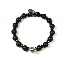 Bracelet matte black onyx and patinated pewter skull