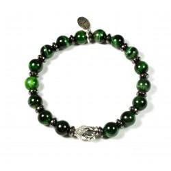 Bracelet Œil de tigre vert et tête de Bouddha argenté