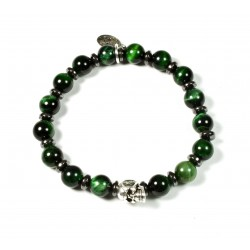 Bracelet Œil de tigre vert et tête de mort étain patiné
