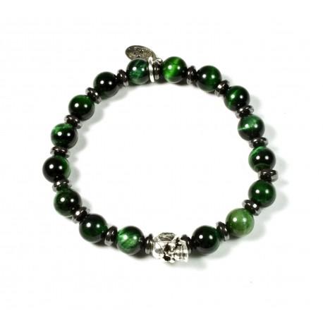 Bracelet Œil de tigre vert et tête de mort plaqué argent