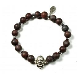 Bracelet Jaspe Brechique Mat et Indian Skull