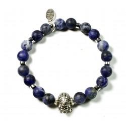 Bracelet Sodalite matt and Indian Skull