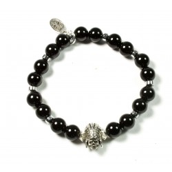 Bracelet Onyx noir brillant et Indian Skull