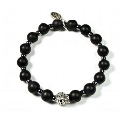 Bracelet Onyx noir mat, Matubo et tête de mort ciselée plaqué argent