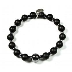 Bracelet Onyx noir mat, Matubo et perle Hématite