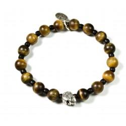 Bracelet Œil de tigre mat, Matubo et tête de mort ciselée plaqué argent