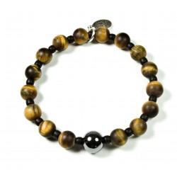 Bracelet Œil de tigre mat, Matubo et perle Hématite