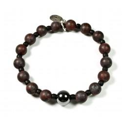 Bracelet Jaspe Bréchique mat, Matubo et perle Hématite