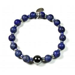 Bracelet matte Lapis lazuli, Matubo and Hematite bead