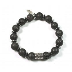 Bracelet Lava Stone and Chiselled Pearl