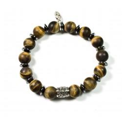 Bracelet Tiger eye matt and chiselled bead