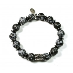 Bracelet Obsidian matte snowflake and chiselled pearl