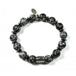 Bracelet Obsidienne flocon mat et perle ciselée