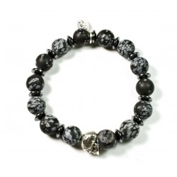 Bracelet Obsidian matt snowflake and patinated pewter skull