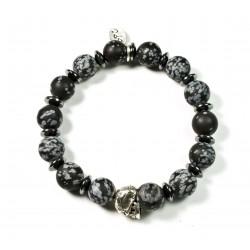 Bracelet Obsidienne flocon mat et tête de mort plaquée argent