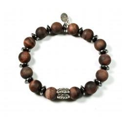 Bracelet Œil de taureau mat et perle ciselée