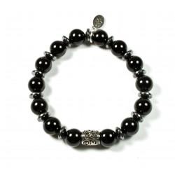Bracelet Onyx noir brillant et perle ciselée