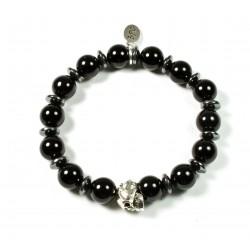Bracelet Onyx noir brillant et tête de mort étain patiné