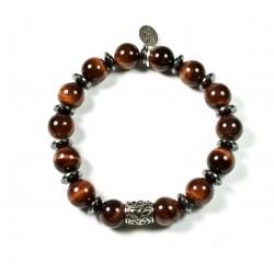 Bracelet Œil de taureau brillant et perle ciselée