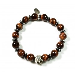 Bracelet Shiny bull eye and patinated pewter skull