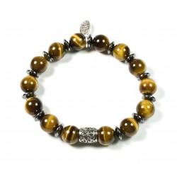 Bracelet Œil de tigre brillant et perle ciselée
