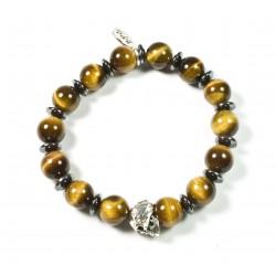 Bracelet Œil de tigre brillant et tête de mort étain patiné