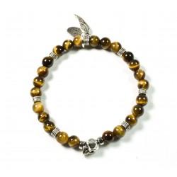Bracelet mini Œil de tigre brillant et tête de mort plaquée argent