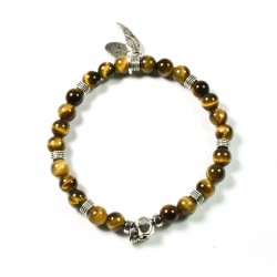 Bracelet mini Tiger eye shiny and patinated pewter skull