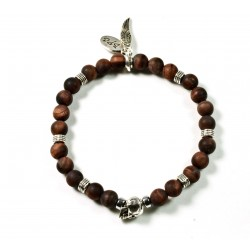 Bracelet mini bull eye matt and patinated pewter skull
