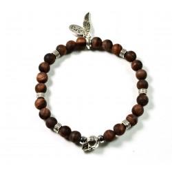 Bracelet mini Œil de taureau mat et tête de mort plaquée argent