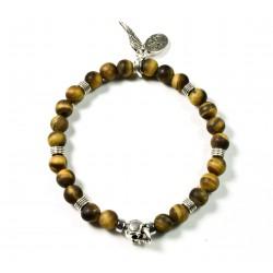 Bracelet mini Œil de tigre mat et tête de mort plaquée argent
