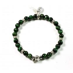 Bracelet mini Œil de tigre vert et tête de mort étain patiné