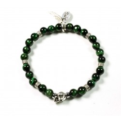 Green tiger eye and patinated pewter skull