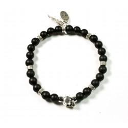 Bracelet mini Onyx noir mat et tête de mort étain patiné