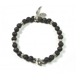 Bracelet mini Lava stone and patinated pewter skull