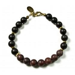 Bracelet Onyx mat, Jaspe Bréchique mat et fermoir laiton