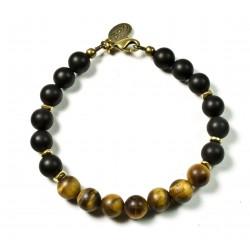 Bracelet Onyx mat, Œil de tigre mat et fermoir laiton