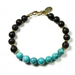 Bracelet Onyx mat, Magnesite turquoise et fermoir laiton