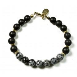 Bracelet Onyx mat, Obsidienne flocon brillant et fermoir laiton