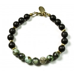 Bracelet Onyx mat, Turquoise Africaine et fermoir laiton