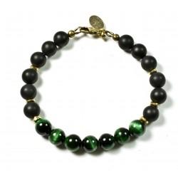 Bracelet Onyx mat, Œil de tigre vert et fermoir laiton