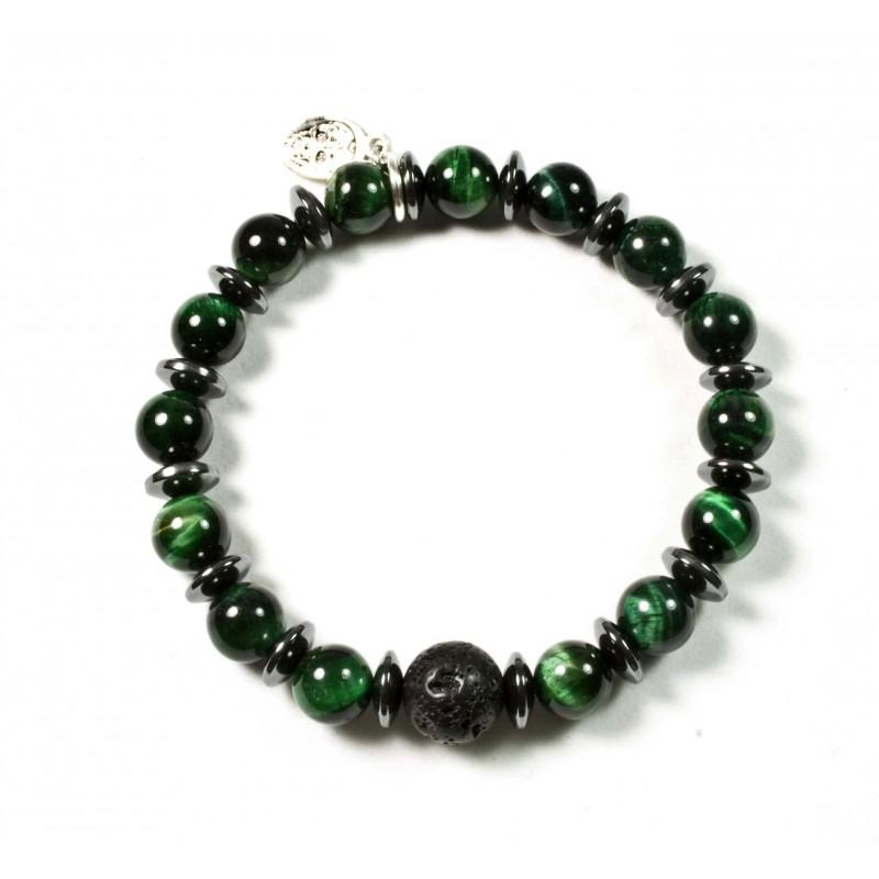 bracelet il de tigre vert et perle pierre de lave black pearl cr ations. Black Bedroom Furniture Sets. Home Design Ideas