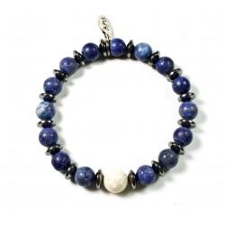 Bracelet Lapis Lazuli mat et perle Riverstone ivoire