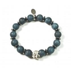 Bracelet Malaysian Jade matt and skull patinated pewter