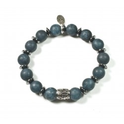 Bracelet matte Malaysian Jade and Chiseled Pearl