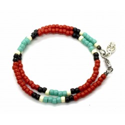 "Bracelet double tour Matubo ""Native Style"" rouge"