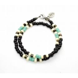 Bracelet double tour Matubo Black & Turquoise
