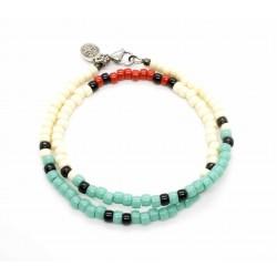 Bracelet double tour Matubo Turquoise, ivoire & rouge